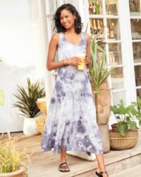 woman in purple, gray and white tie-dye maxi dress – shop dresses