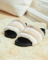 tan, cream and black cozy slippers