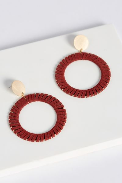 Thirty-nine 42 Leather Circle Earrings