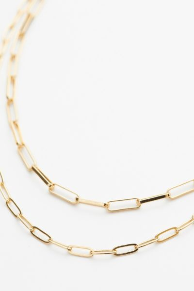 Evereve Janie Double Paperclip Chain Necklace