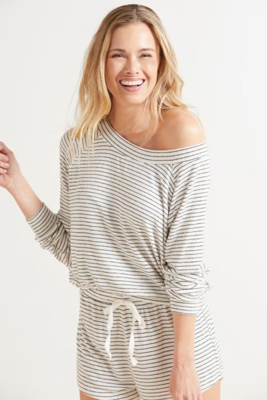 Bobi Stripe Off Shoulder Sweatshirt