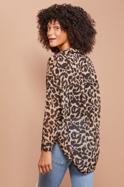 French connection Animal Georgette Top