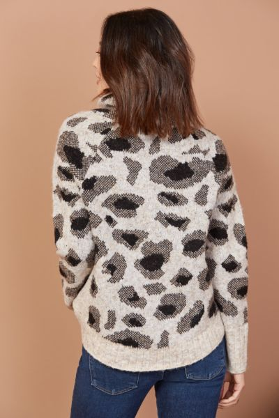 Rd style Leopard Turtleneck Pullover