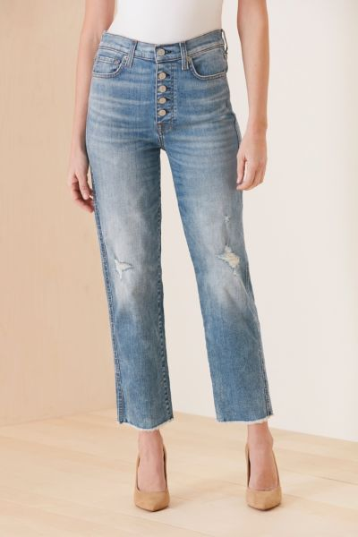 7 for all mankind High Waist Crop Straight with Exposed Buttons
