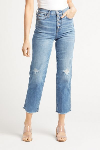 High Waist Crop Straight with Exposed Buttons
