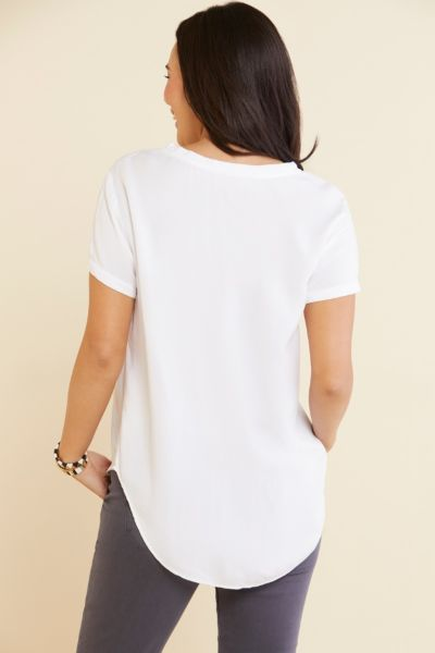 Cloth and stone V Neck Short Sleeve Woven T Shirt