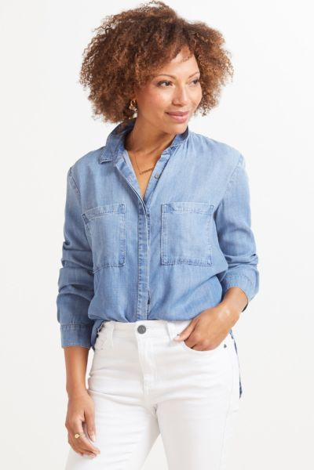 Cloth and stone Denim Shirttail Button Down