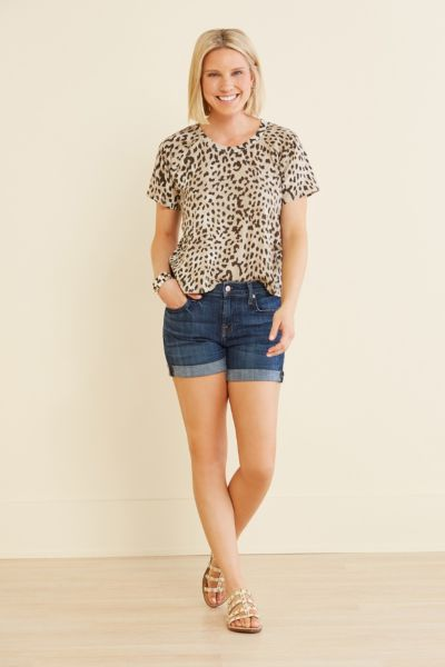 Chaser Leopard Jersey Crop Tee