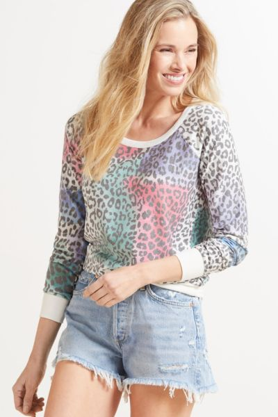 Chaser Painted Leopard Pullover