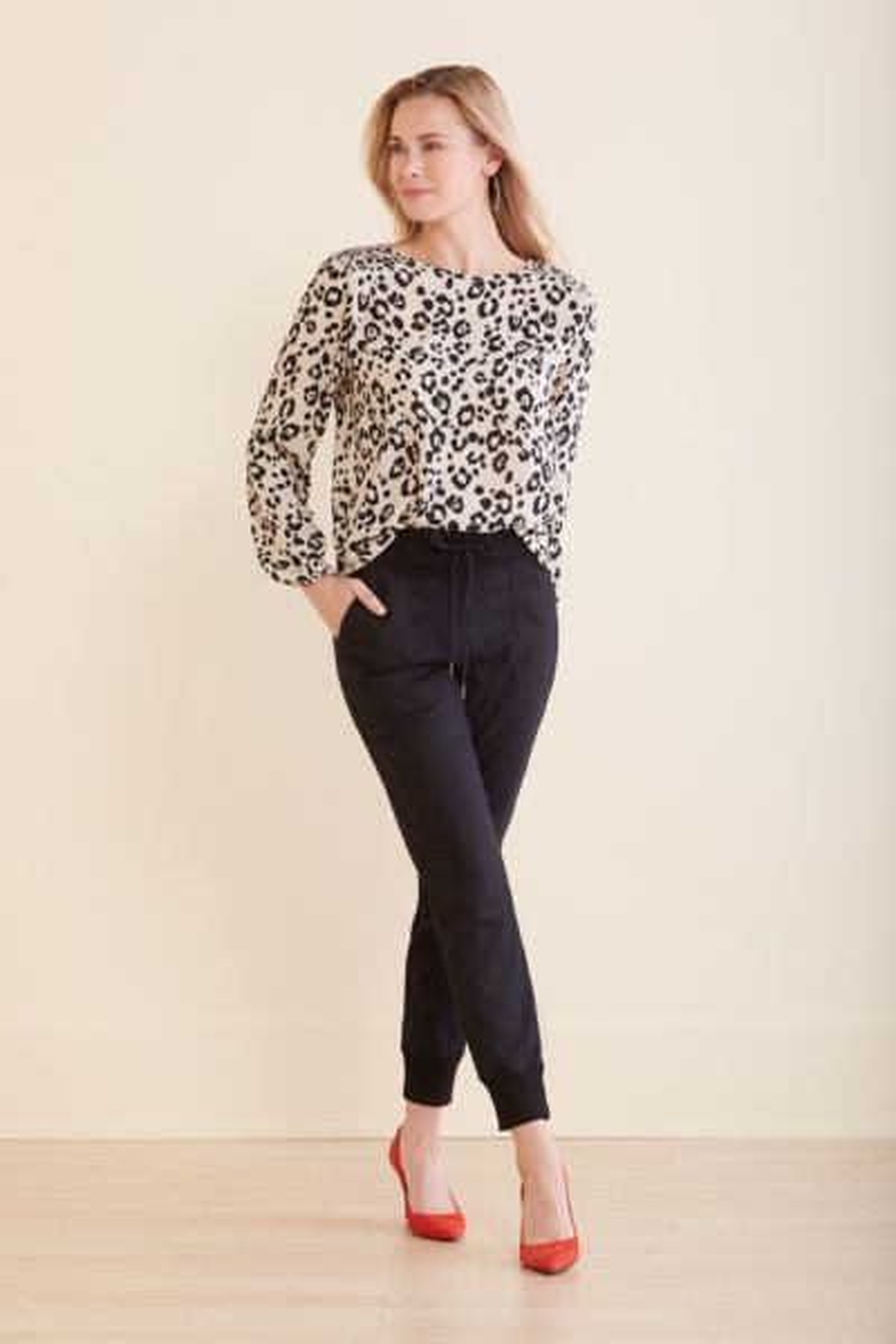 Peyton jensen Rayna Leopard Smock Shoulder Top