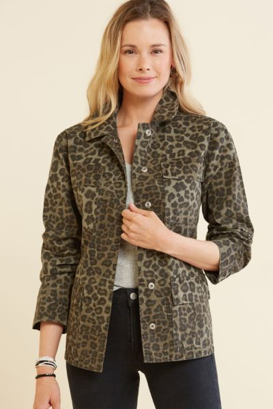 Good american Leopard Utility Jacket