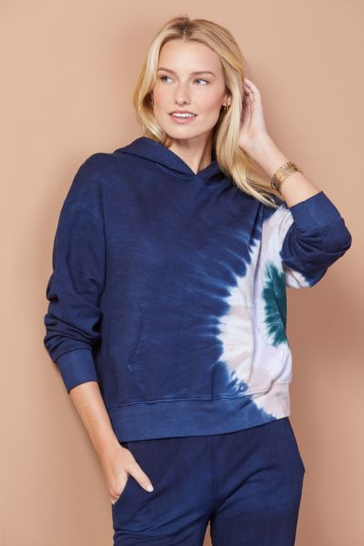 Monrow Tie Dye Supersoft Slouchy Hoodie