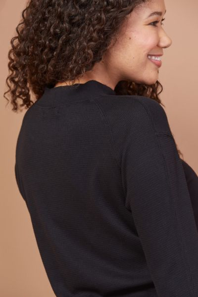 Monrow Thermal Mock Neck Seamed Pullover