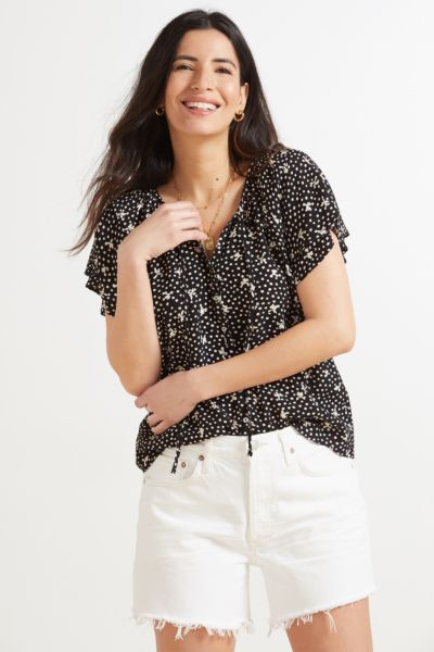 Floral Dot Flutter Sleeve Top