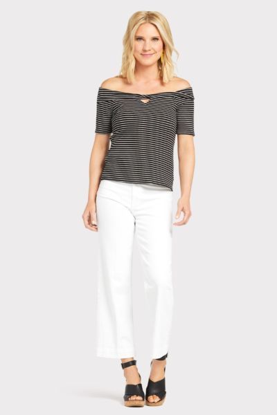 Red haute Stripe Off Shoulder