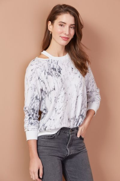 Marble Cutout Neck Pullover
