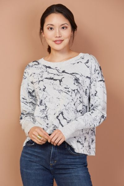 Stitches and stripes Marble Print Pullover