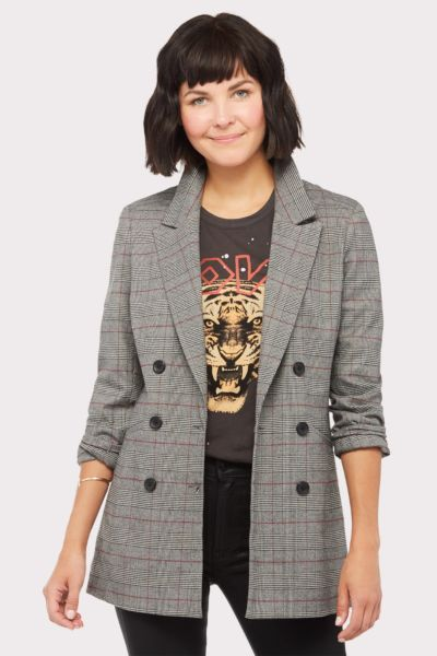 Level 99 Irina Plaid Blazer