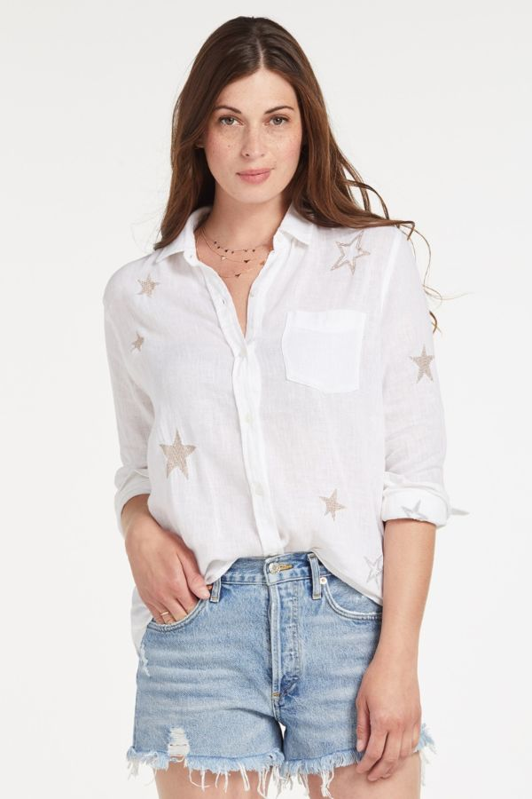 Rails Charlie Rosegold Star Button Down