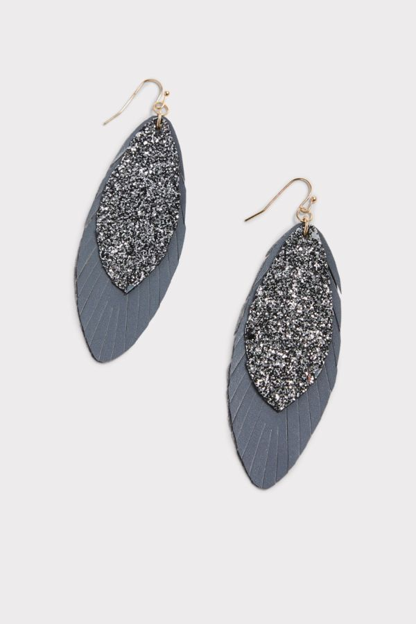 Thirty-nine 42 Silas Layered Sparkle Feather Earrings