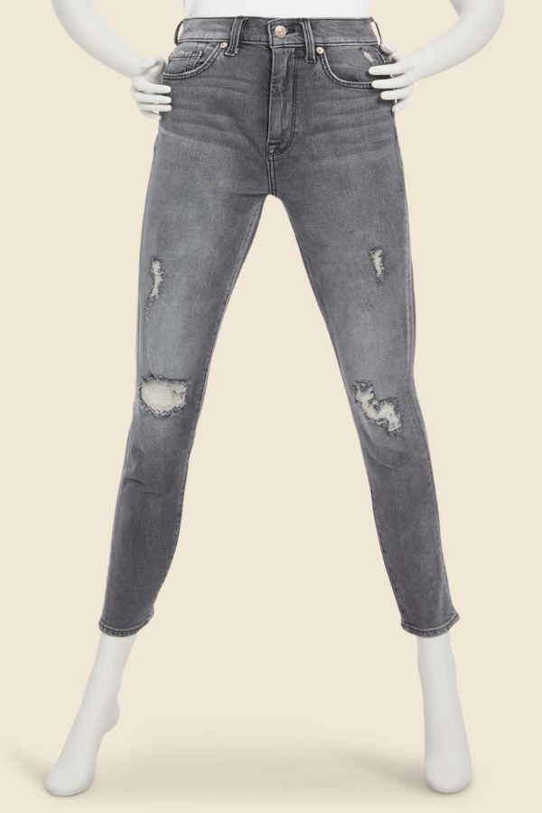 7 for all mankind High Waist Ankle Skinny with Destroy