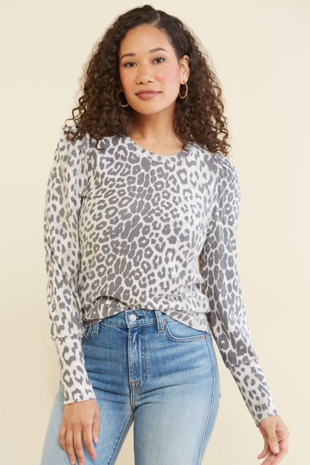 Chaser Leopard Puff Sleeve Sweatshirt