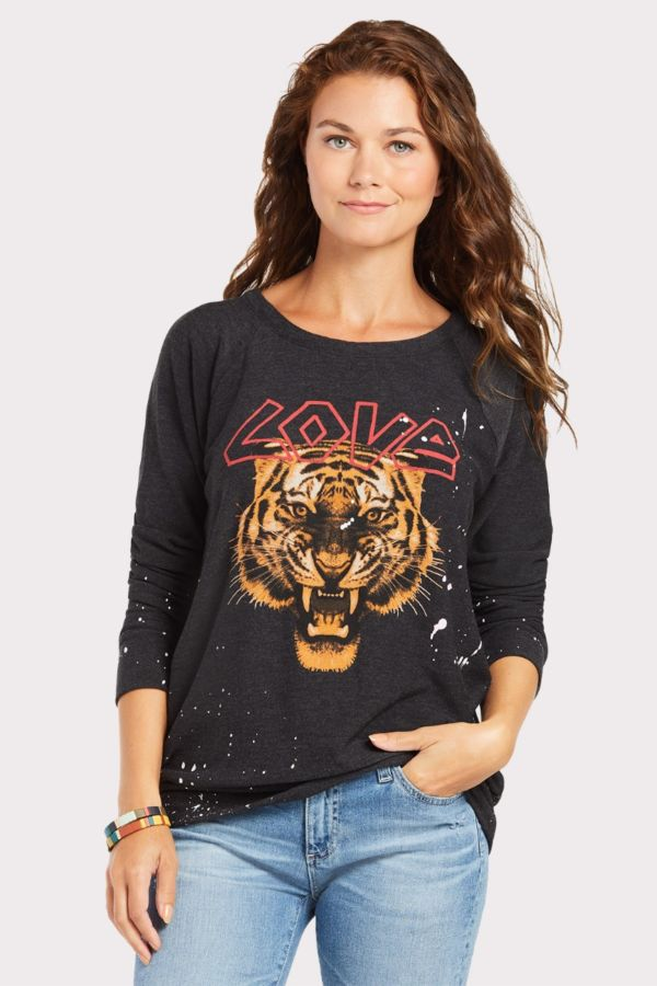 Chaser Love Cat Graphic Pullover