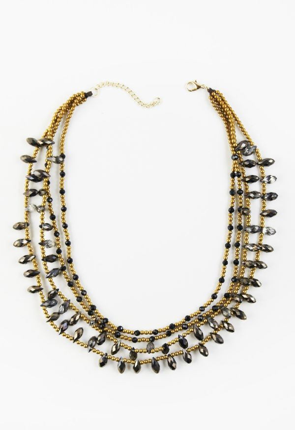 Mia berkeley Black and Grey Multi Beaded Necklace