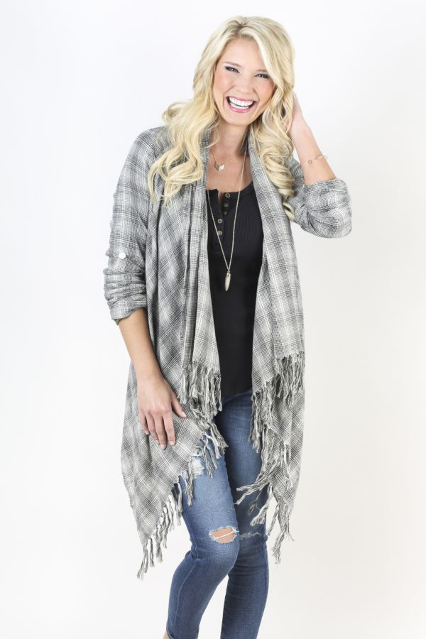 Billabong Fall For You Plaid Open Cardy