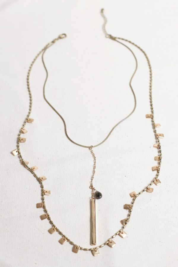 Excelsior Point and Stone Double Strand Necklace
