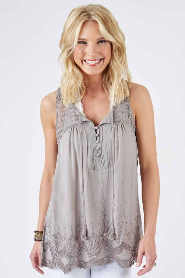 Lovestitch Scallop Embroidery Tank