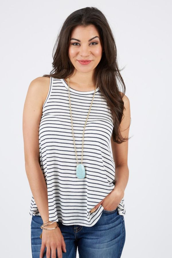 Olive and oak Stripe Rib Knit Tank