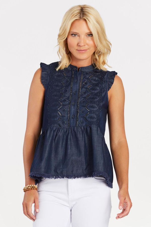 Moon river Embroidered Denim Top
