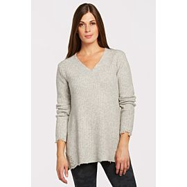 Sloane Tunic Sweater with Destruction