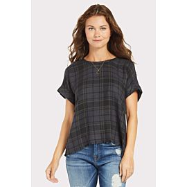 Plaid Frayed Hem Button Back Tee