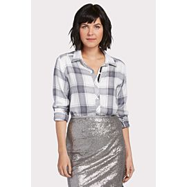 Metallic Plaid Boyfriend Shirt