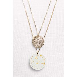 Rowan Painted Double Circle Pendant Neck