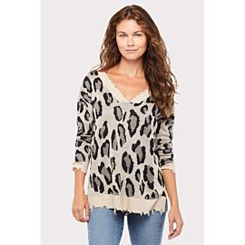Leopard Double V Sweater