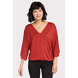 Knit Banded Button Top