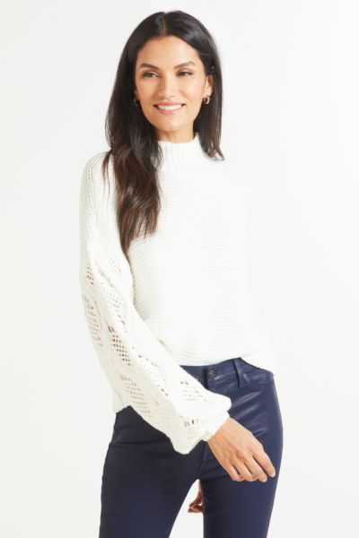 Turtleneck Cable Sleeve Pullover