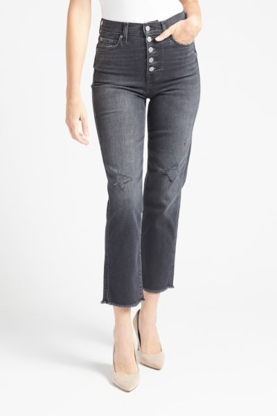 High Waist Cropped Straight Exposed Buttons