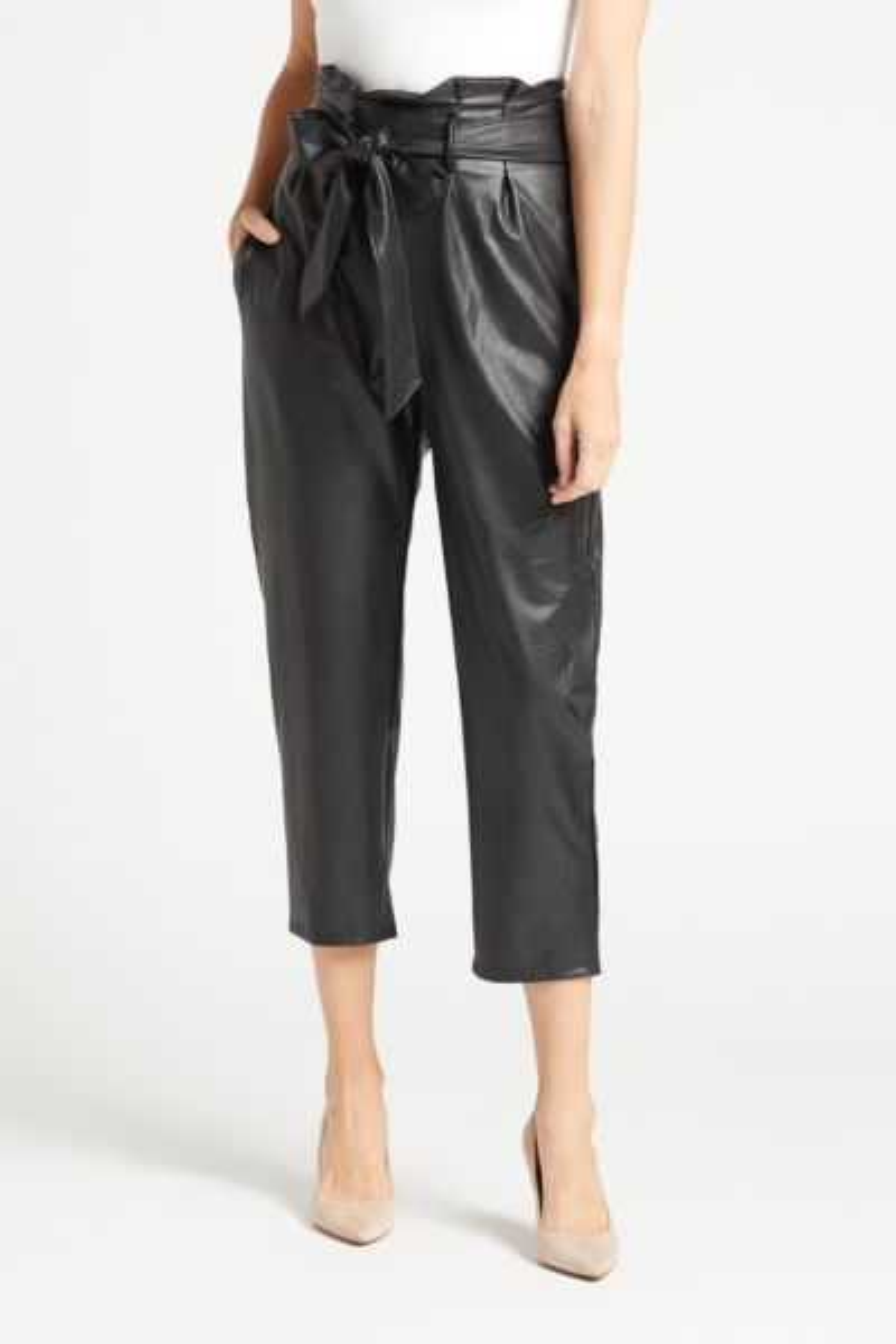 Faux Leather Paper-Bag Pant