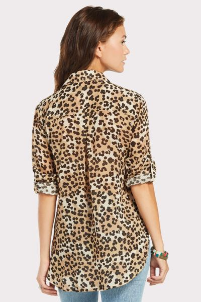 Cloth and stone Leopard Shirt Tail Button Down