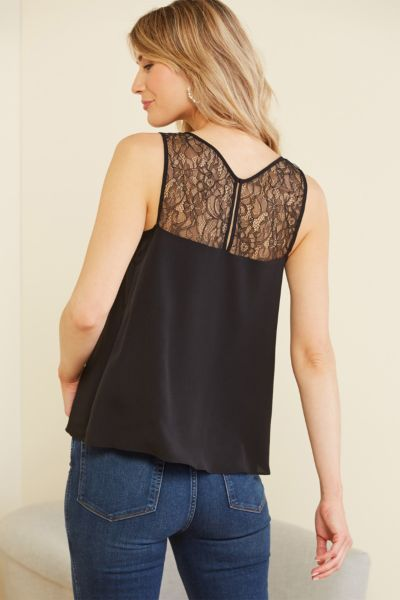 French connection Crepe Lace Trim Tank