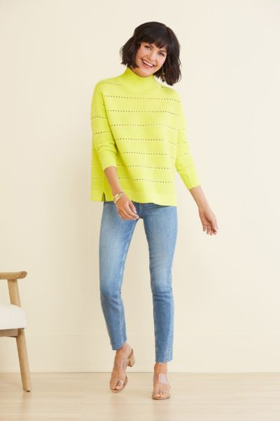 French connection Liliya Knit Lace Hole Pullover