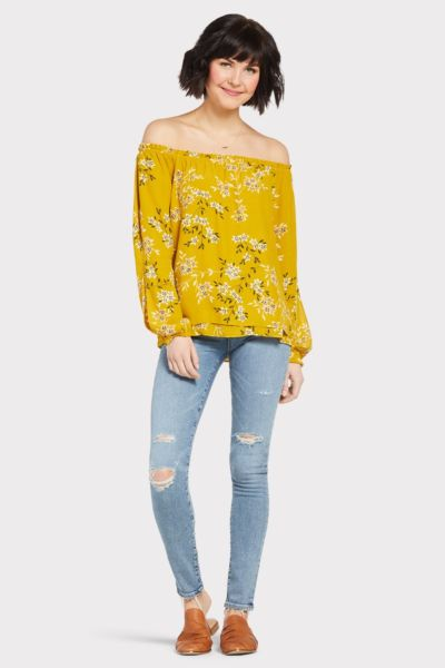 Sanctuary Sketch Floral Off Shoulder Top