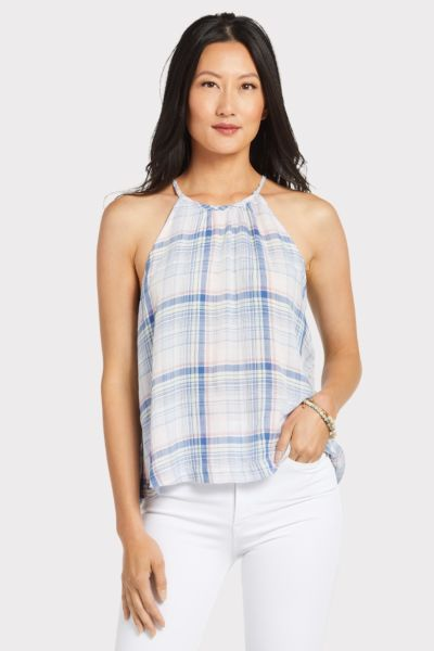 Cloth and stone Plaid Button Back Tank