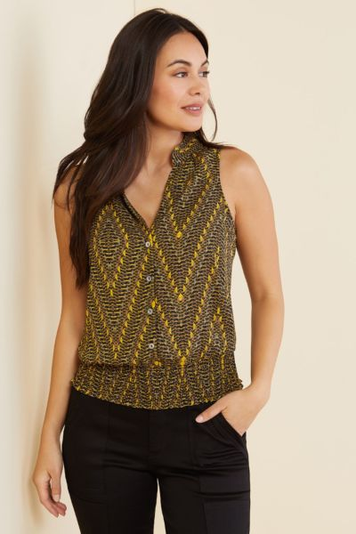 Allison joy Lela Button Front Smocked Tank