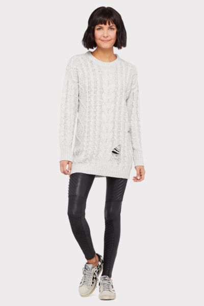 John and jenn Reeve Destructed Cabled Tunic Sweater