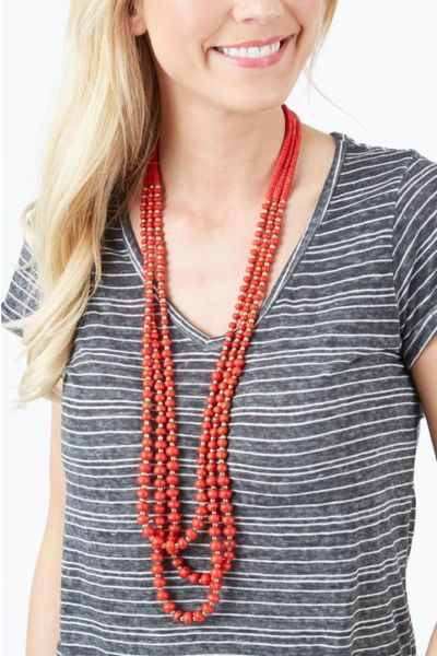 Flyaway Red Stone Pearl Necklace